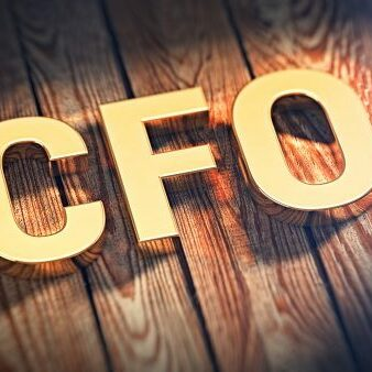 """The acronym """"CFO"""" is lined with gold letters on wooden planks. 3D illustration image"""